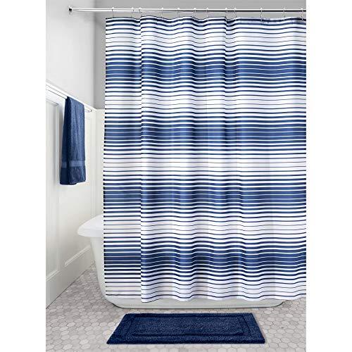InterDesign Enzo Duschvorhang Textil   wasserabweisender Duschvorhang aus Stoff mit verstärkten Löchern   Badewannenvorhang im Streifen-Design   Polyester navyblau/weiß