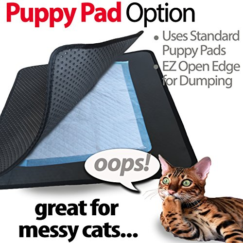 iPrimio Jumbo Size Cat Litter Trapper Litter Mat, EZ Clean Cat Mat, Litter Box Mat Water Proof Layer and Puppy Pad Option. Patented. (32x30 Black)