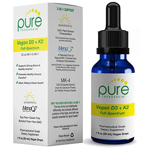Vegan D3 + K2 'Full Spectrum' Drops for Best Absorption | 5 Drops Contain: 5,000iu VIT D3 'Vitashine', 500mcg VIT K2 (MK4) & 180mcg VIT K2 (MK7) 'MenaQ7' | Soy-Free, GF, Non-GMO, Tasteless & Odorless