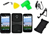 Holster + Hybrid Cover Phone Case + Car Charger + Screen Protector + Extreme Band + Stylus Pen + Pry Tool For ZTE Allstar Z818L Z818G (Holster S-hybrid Black/Black)