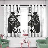 Jktown Cortina de ventana Gamer We Love Gaming frase corazón, eficiencia energética, oscurecimiento de habitación, 72 x 72 L