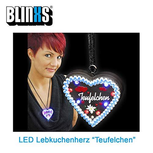 BLINXS LED Lebkuchenherz Teufelchen Multicolor Leuchtend - für Oktoberfest, Kirmes, Junggesellenabschied und Party - mit wechselbaren Batterien