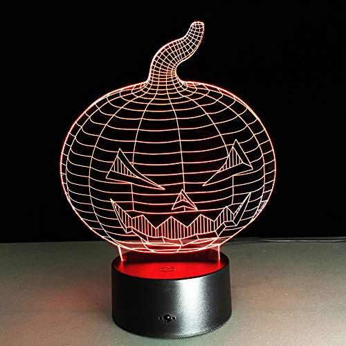 jiushixw 3D acryl nachtlampje met afstandsbediening kleur tafellamp Halloween pompoen schedel milieu kinderkamer zebra print tafellamp