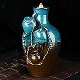 Quemador de incienso con reflujo de cascada de cerámica, soporte para cono de...