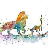 N / A Lion Poster Stampa su Tela Acquerello Classico Cartone Animato Arte Pittura murale Foto Arte Camera dei Bambini Decorazione della casa