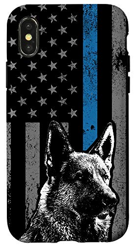 iPhone X/XS Thin Blue Line Flag K-9 German Shepherd Police Dog Gift Case