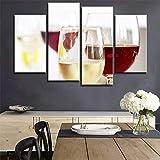 Cuisine Toile Art Vin Rouge Peinture sur Toile Mur Art Photo pour Bar Cuisine Salle à Manger-4 pcs sans Cadre