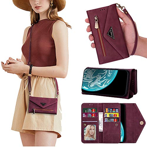 Price comparison product image QC-EMART Lanyard Case for Samsung Galaxy A71 Flip Wallet PU Leather Case Cover Purple Adjustable Detachable Crossbody Wristlet Phone Case Card Holder Mobile Bag for Galaxy A71