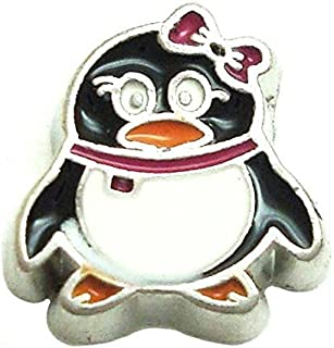 Cherityne Girl Penguin with Red Bow Floating Charm for Locket Pendants