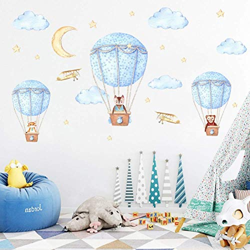 GWFVA Muurstickers kunnen worden verwijderd milieuvriendelijke PVC muurstickers slaapkamer achtergrond muur kinderen kamer stickers Hot Air Balloon 60 * 90 Cm