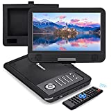 NAVISKAUTO 12' Portable DVD Player for Car with HDMI Input, 10' Swivel Screen, 2500mAh Rechargeable Battery, Car Headrest Mount Case, Support USB/Sync TV and MP4 Video Playback