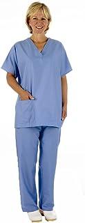 Medical Scrub TUNIC + TROUSER SET - Reversible, Unisex with Caresupermarket Pen (Medium, Ceil Blue/ Pale Blue)