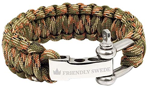 The Friendly Swede Braccialetto di sopravvivenza in Paracord, con chiusura in acciaio inox, Armee-Grün Camouflage, 23