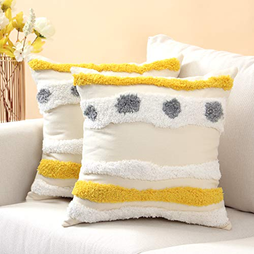 Boho Almohada Funda 45x45 Cojin Fundas Decorativas Cojines Cuadrada Algodón de Lino Amarillo 2pcs Pillow Case para Sala de Estar Dormitorio Sofá Cama Silla Coche