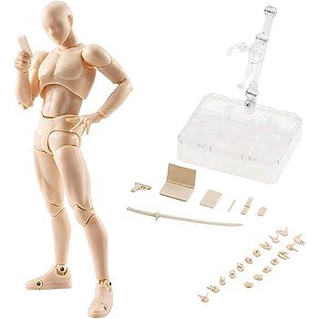 筋肉質体型 モデル人形 PVC 可動式 塗装済み デッサン フィギュア デッサン用 素体 人形 デッサンドール ギフト アクセサリー付き パーツ付属 (肌の色, 男の人)