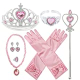 Princess Dress Up Party Accessories for Princess Costume Gloves Tiara Wand Necklace Earrings Bracelet and Ring Gift Set 9pcs (Pink, Set of 7, 9pcs)
