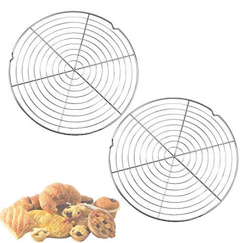 Wandefol Abkühlgitter 2 Stück Kuchenauskühler Ø 32,5 cm, Edelstahl Metall Kuchenauskühler Rund Kuchen Tortenkühler Gleichmäßiges und Schnelles Auskühlen Leichte Lösbarkeit der Gebäcke