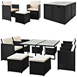 Deuba - Salon de Jardin - polyrotin • Set 4+4+1 Fauteuil, Tabouret et Table + Coussins | Noir, fauteuils encastrables - Plateau Verre - résistant aux intempéries et UV - Mobilier, Ensemble