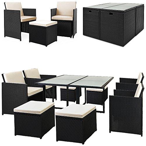 Casaria Poly Rattan Sitzgarnitur Cube 7cm Dicke Auflagen 4 Stühle 4 Hocker Tisch 9 TLG Sitzgruppe Gartenmöbel Set
