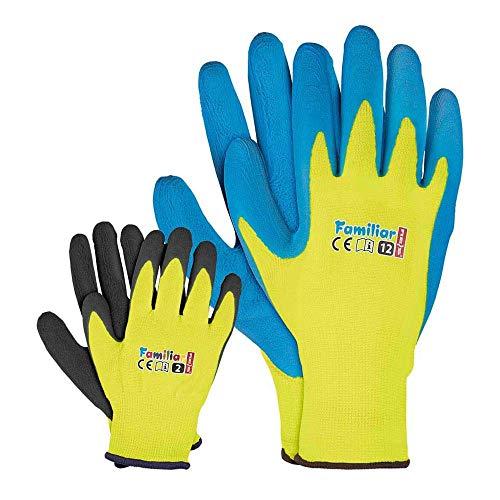 REIS Familiar_3 - Guantes protectores (6 unidades), color amarillo, negro y azul