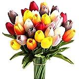 momok 30Pcs Flores de Tulipanes Artificiales de Seda Multicolores de 14 Pulgadas para la DecoracióN del Hogar del Partido