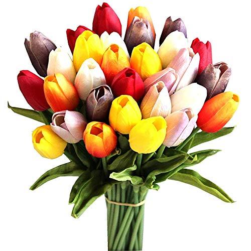 Jaimenalin 30Pcs Flores de Tulipanes Artificiales de Seda Multicolores de 14 Pulgadas para la DecoracióN del Hogar del Partido