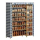 Almacenamiento de zapatos Rack de zapatos de 7 niveles Rack de zapatos de almacenamiento de doble fila con cubierta a prueba de polvo y marco de madera for dormitorio Corredor de casa Aplicable Zapate