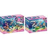 Playmobil - Concha de Perla, Figurinas, Color Multicolor, 70095 + 70100Magic Familia con Conchas Cochecito, Multicolor