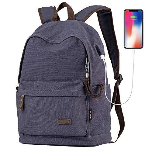 Cmxing Canvas Rucksack Anti-Diebstahl Backpack mit USB Ladeport Schulrucksack mit dem Metall Reißverschluss-Kopf Laptoprucksack Business Daypacks für Damen Männer Reise Büro Dunkelblau
