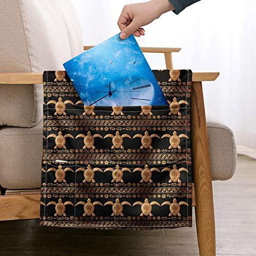 Pizding - Soporte para revistas con mando a distancia, organizador para sillón reclinable con bolsillos para aperitivos y gafas, tamaño estándar universal Hawailia Sea Turtle Gold