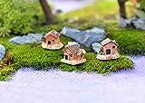 Moent Decoración del hogar Mini casa de muñecas Casa de Piedra Decoraciones de...
