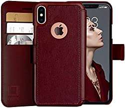 LUPA iPhone X Wallet Case -Slim & Lightweight iPhone X Flip Case with Credit Card Holder - iPhone 10 Wallet Case for Women & Men - Faux Leather i Phone Xs Purse Cases with Magnetic Closure – Burgundy