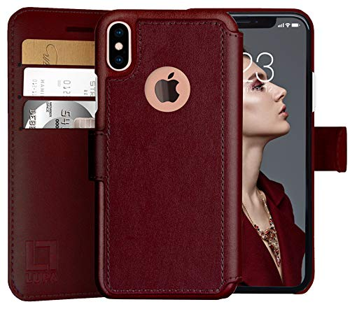 LUPA iPhone X Wallet Case -Slim & Lightweight iPhone X Case with Card Holder - iPhone Xs Wallet Case For Women & Men - Faux Leather i phone Xs Purse Cases- Magnetic Closure, Burgundy (5.8 Inch Screen)