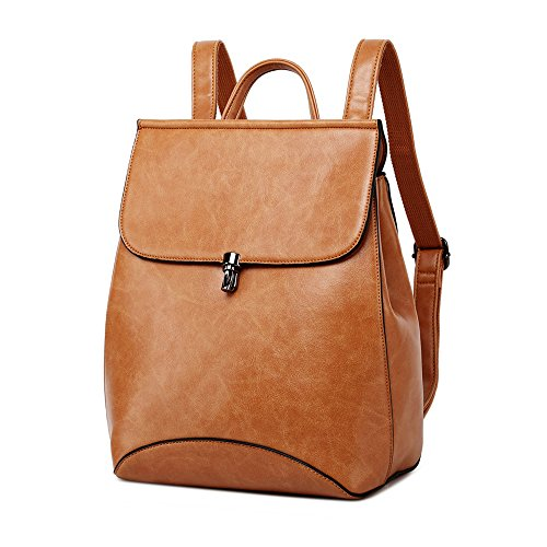 WINK KANGAROO Fashion Shoulder Bag Rucksack PU Leather Women Girls Ladies Backpack Travel bag (Yellow brown)