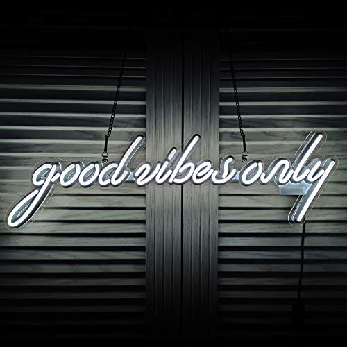 Good Vibes Only LED Neon Sign Art Wall Lights for Beer Bar Club Bedroom Windows Glass Hotel Pub Cafe Wedding Birthday Party Gifts_White