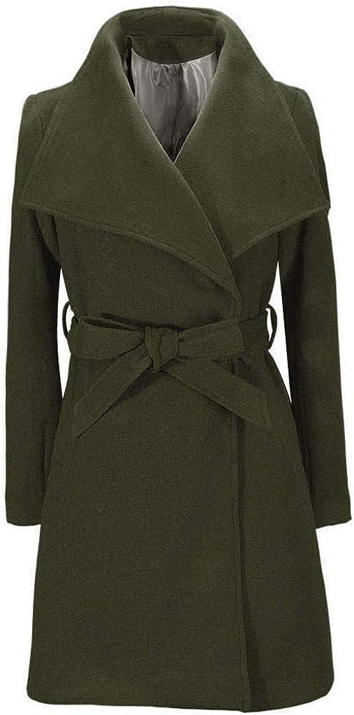 QIQIU Womens Lapel Trench Fashion Solid Slim Fit Warm Long Coat with Belt Elegant Jacket Cardigan Overcoat