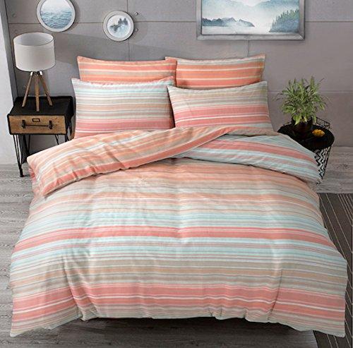 Sleepdown New Ombre Stripe Peach Polycotton Duvet Cover & Pillowcases Bedding set(Double)