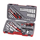 Teng Tools 111 Piece 1/4, 3/8 & 1/2 Inch Drive Metric & SAE Regular/Shallow & Deep Socket Set -TM111