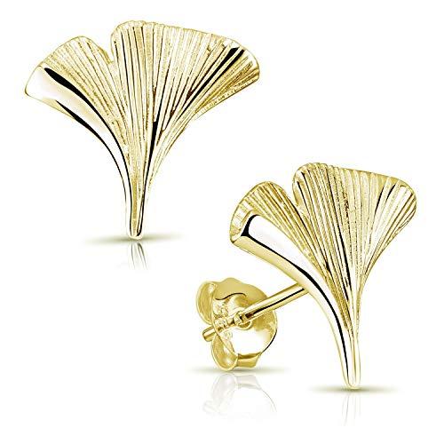 Materia Ginkgo Ohrringe Gold Stecker - 925 Silber Ohrstecker Ginkoblatt Goldohrringe vergoldet SO-392-Gold