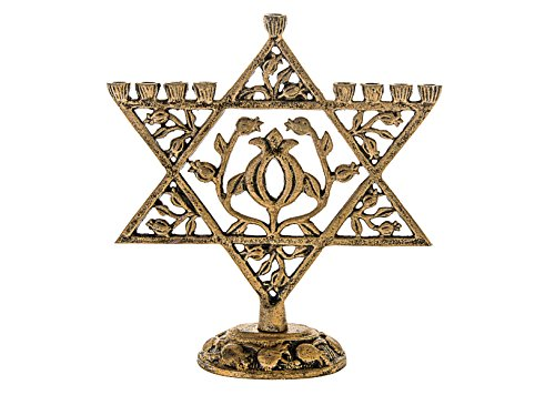 Legacy Judaica Gold Star of David Menorah for Chanukah – for Standard Hanukkah Candles – Floral Magen Dovid Menora Style – 9' Tall x 8.75' Wide