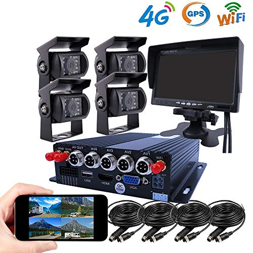 JOINLGO 4 Channel GPS 4G WiFi 1080P AHD 2 SD Mobile Vehicle Car DVR MDVR Video Recorder Kit Real-time Monitor on PC Phone with 4 Metal Side Front Rear View Backup Car Cameras ONLY Support TMOBILE