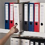 Amazon Brand – Eono Archivador de Palanca Plástico A4 – con lomo de 70 mm, bolsillo interior para papeles sueltos y cierre elástico, 4 colores, paquete de 4