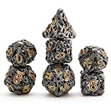 Hollow Metal DND Game Dice Octopus Head Suck Monster Black with Red Numbers 7Pcs Set for Dungeons and Dragons RPG MTG Table Games D&D Pathfinder Shadowrun and Math Teaching (with Metal Case)