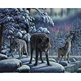 Animales sin marco, lobos, animales, pintura Diy por números, cuadro artístico de pared, pintura al óleo pintada a mano para arte de pared del hogar