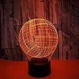 Lámpara 3D Voleibol RGB Lámpara de humor cambiable Base de luz de 7 colores Luz de noche 3d fresca para niños Regalo de vacaciones de cumpleaños
