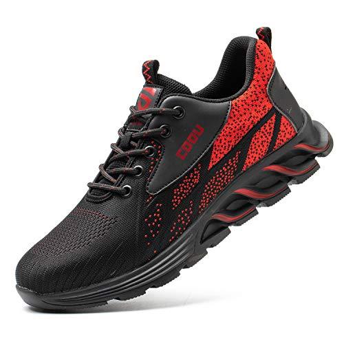 JUDBF Zapatos de Seguridad Hombre Mujer s3 Calzado de Trabajo Ligeros Transpirable Zapatillas de Seguridad con Punta de Acero 8082Red/41