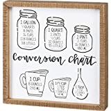 Primitives by Kathy Inset Box Sign - Conversion Chart, 12x12 inches, Black, White, Wood