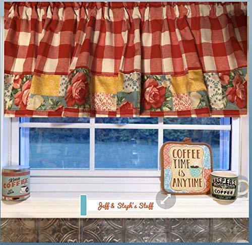 Farmhouse Valance, Red Buffalo, Roses, Patchwork, Cotton Valance Sale Cotton Window Curtain Treatment 60W x 15L