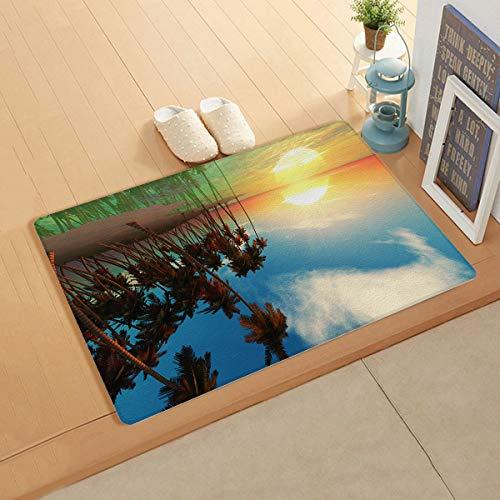 Knight Dream Kunst-Leder-Matte, glatter Teppich – Ocean Beach Kokosnuss Palmen Sonnenuntergang Teppich für Schlafzimmer Wohnzimmer Modern Home Decor 45,7 x 119,4 cm