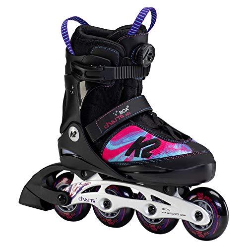K2 Skates Mädchen Inline Skate Charm BOA ALU — Black - pink — M (EU: 32-37 / UK: 13-4 / US: 1-5) — 30F0120